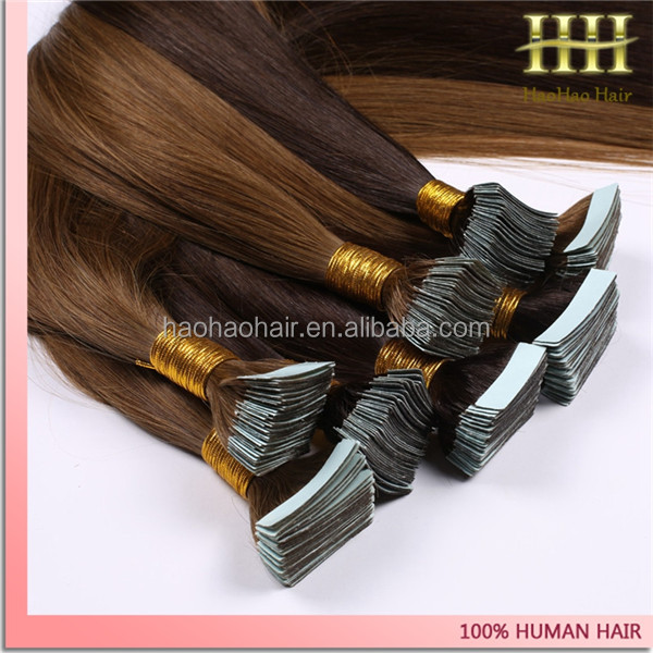 Haohao Hair 26 inches russian 100human hair tape in hair extensions%