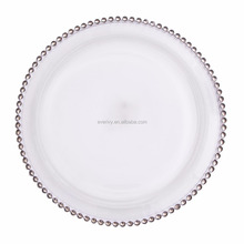 Silver And Gold Beaded Cheap Glass Charger Plate For Wedding For Dinner