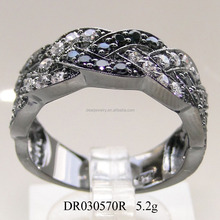 Zircon Silve Rings Female Black Plated Wedding Ring
