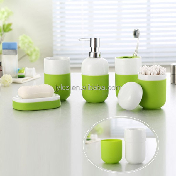 Cheap ceramic bathroom sets with non slip silicone base for Affordable bathroom sets