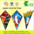 blue white checked paper french fry cone package