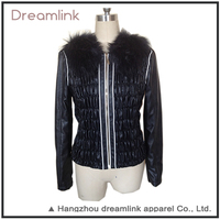 Latest designs slim fit black lady leather jacket with fur collar