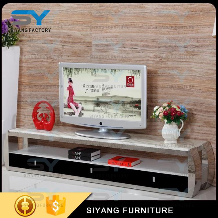 Hot sale modern stainless steel marble TV stand