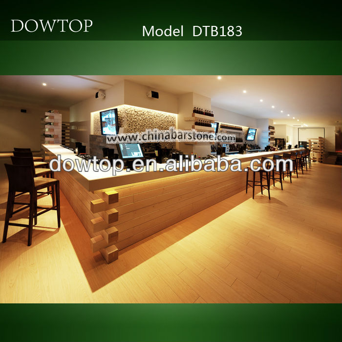 Western style L shaped modern commercial wooden bar counter design for pub