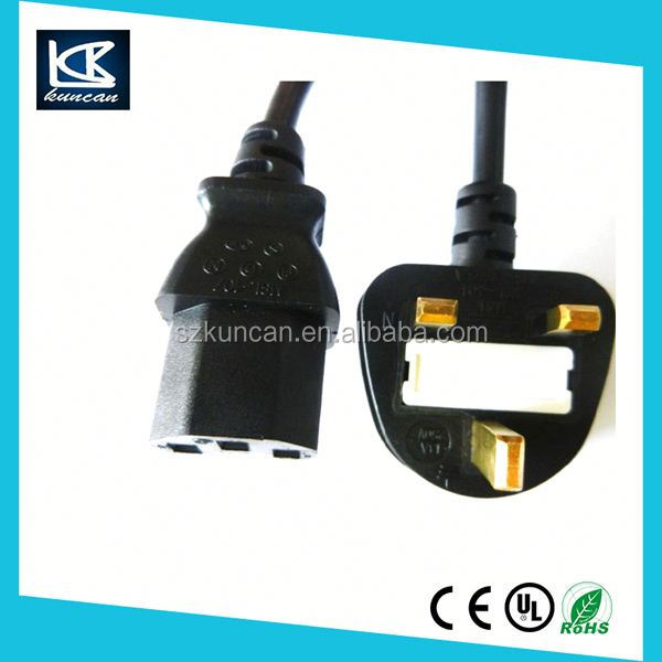 United kingdom/Malaysia/Singapore Fused uk 3 pin power plug with cord BS approval for computer pc
