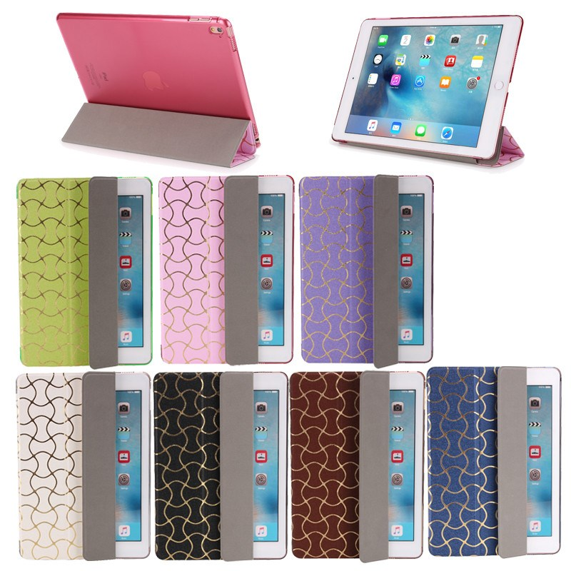 Wave design Three Folding leather cover for ipad pro 9.7, for ipad pro 9.7 tablet cover with clear PC back case