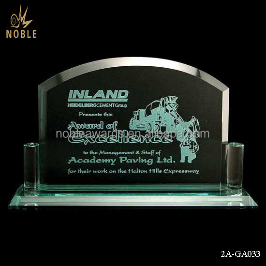 Sandblasting Blank Glass Plaque Excellence Award Crystal Trophy For Souvenirs.