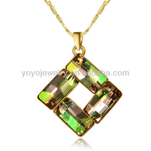 Charming square pendant fluorescence crystal fake gold jewelry necklace
