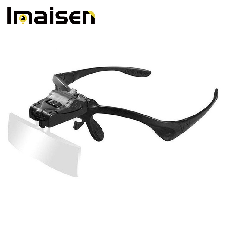Headband Magnifying Glass Eye Repair Magnifier 2 LED Light 1.0/1.5/2.0/2.5/3.5X 5PC Glasses Loupe Optical Lens