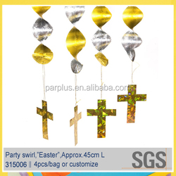 Happy Easter party hanging decorative swirls,Foil danglers