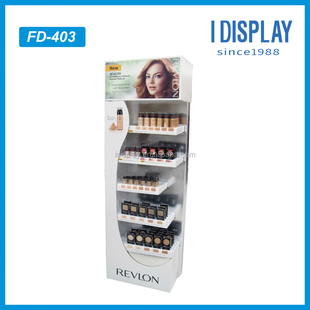 Paper material cosmetic point of sale display for makeup products