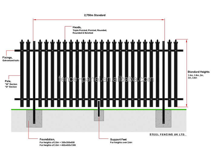 Iso9001 Removable Galvanized And Pvc Coated Steel Palisade