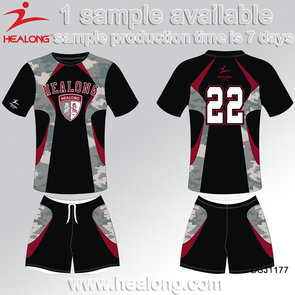 Healong High Quality Camo Pattern Soccer Team Football Jersey