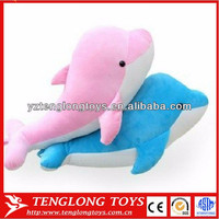 Lovely gift plush pink and blue dolphin toy free samples