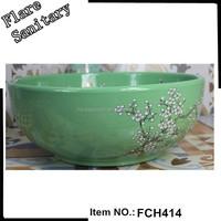 ceramic wash basin bowl shape light green sink