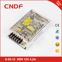 Metal case single output voltage ac 110v to dc led display power supply 12v 50w