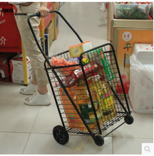 Iron folding trolley Hand pull shopping cart Rolling cart