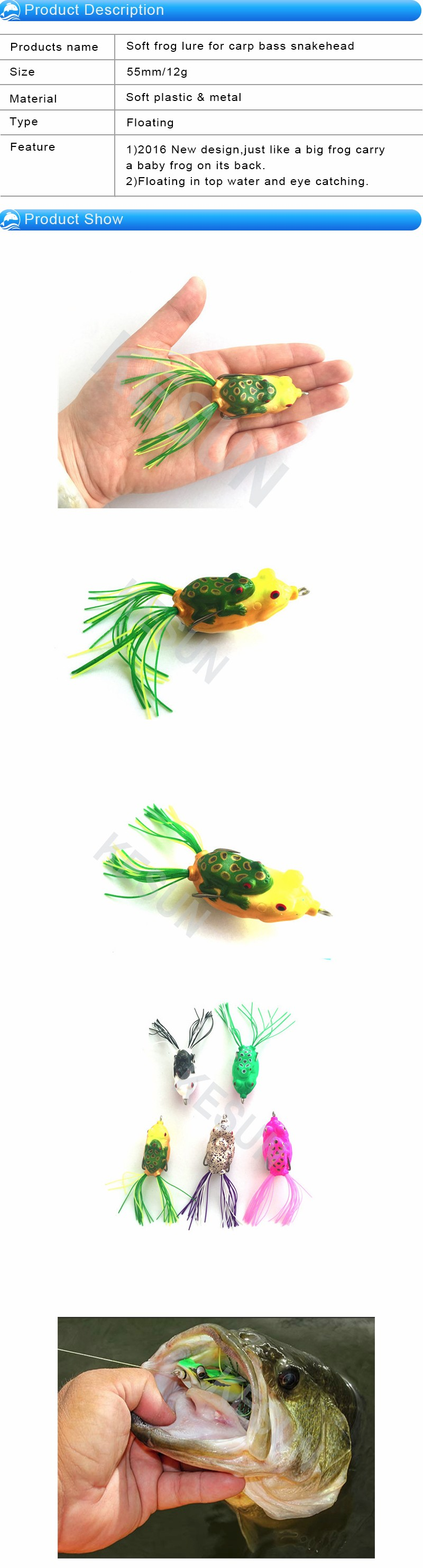Wholesale in stock soft frog lure for carp bass snakehead freshwater fishing