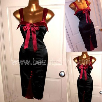 Vintage WW2 1940s 50s Repro Satin Wiggle Pinup Pencil Bombshell Hollywood Dress GP037