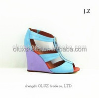 YX19 cut out topless kinds of color rainbow wedge sandals