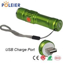 flashlight torch led torch light usb charger high power focus 1100lumen 18650 zoom XML2-T6 led rechargeable flashlight