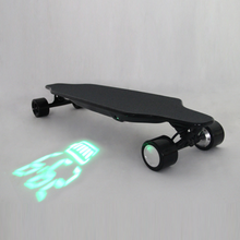 2017 New Four Wheels Remote Control Electric Double Drive Long Board Skateboard With Projection