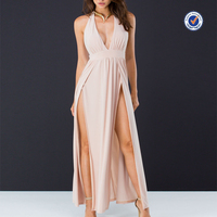 Halter neck backless ultra-high double slit sexy maxi dress oem women's clothing