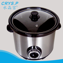 stainless steel slow cooker with black ceramic pot and tempered glass lid