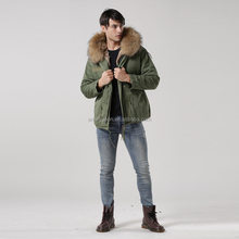 Italy male real raccoon fur collar jacket hood fur lined short parka with faux rabbit fur winter male coats
