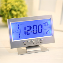 Voice Control Back-light LCD Alarm Clock Weather Monitor Calendar With Timer Sound Sensor Temperature Decor Desktop Table Clock