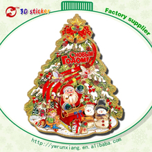 Double Side Printed Glitter 3D chart paper Flocking Christmas Tree sticker Decors