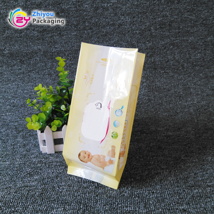 Custom printed back seal baby wet wipes packaging side gusset pouch