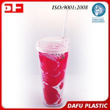 Double wall Printing advertising Paper insert plastic water cups with lids straws