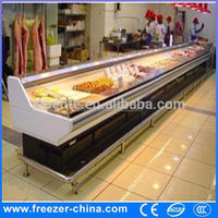 Meat shop equipment serve over counter meat refrigerator