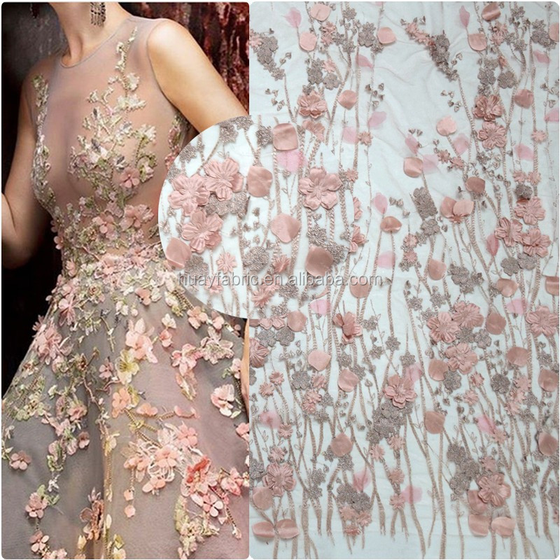 Nude Pink handmade 3d florals bridal lace fabric wholesale fashion korean lace fabric wedding dress HY0411