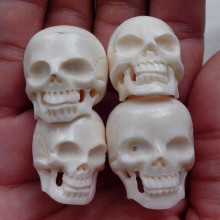 "4pcs 1"" Head Skull Carved Buffalo Bone Carving 60002974"