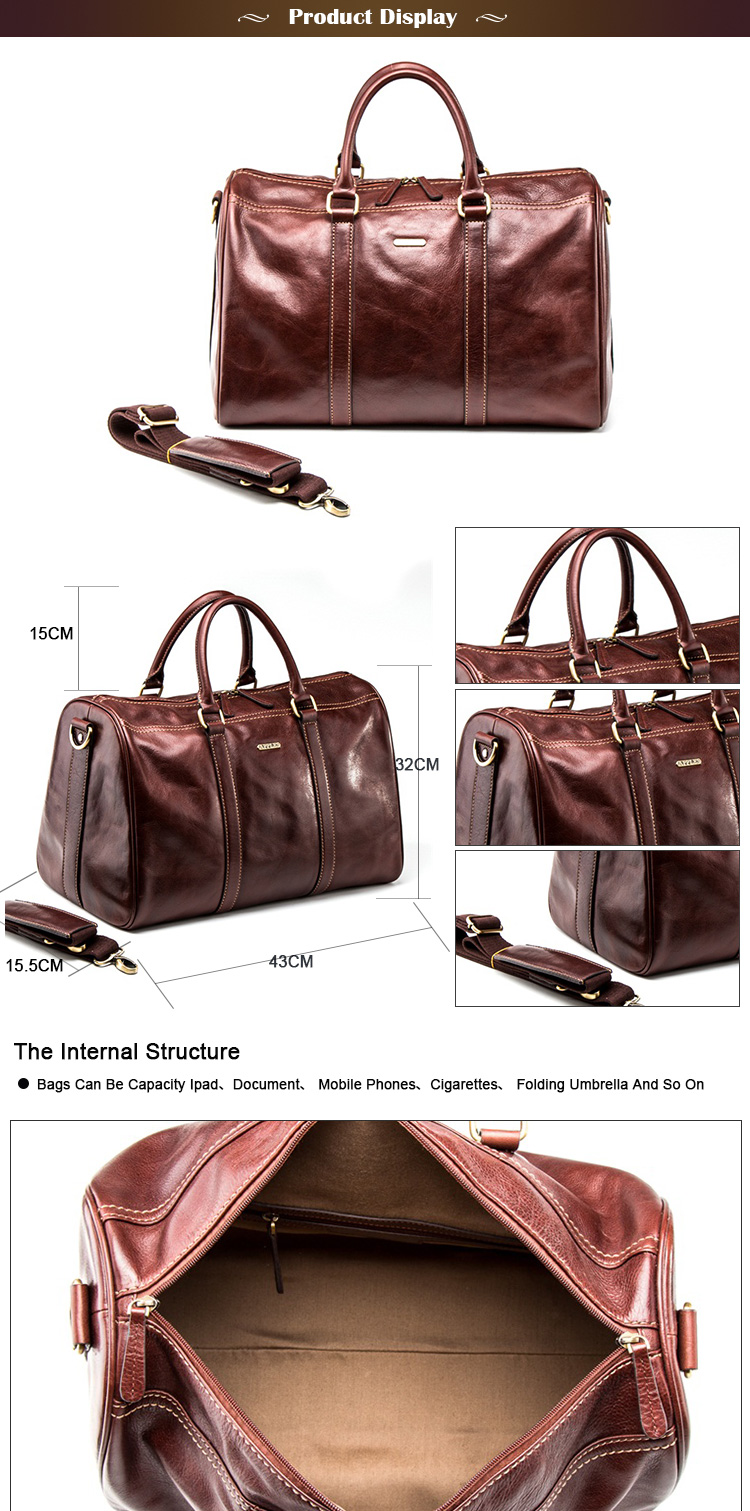 Experienced Factory Custom Leather Laptop Bag Duffle Handbag