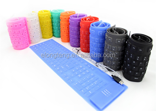 New Slim Flexible Silicon Keyboard withExcellent Touch Feel, silicone keyboard for laptop, desktop, tablet pc, etc.