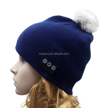 100% Acrylic bule custom knitted cuff beanie hat,bluetooth beanie hat with headphone