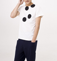 Shirt design bamboo fabric or cotton and polyester blend fabric with the black dot print plain white t-shirts