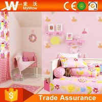 Guangzhou Low Price Beautiful Kids Wall Paper Pink Color with Sample