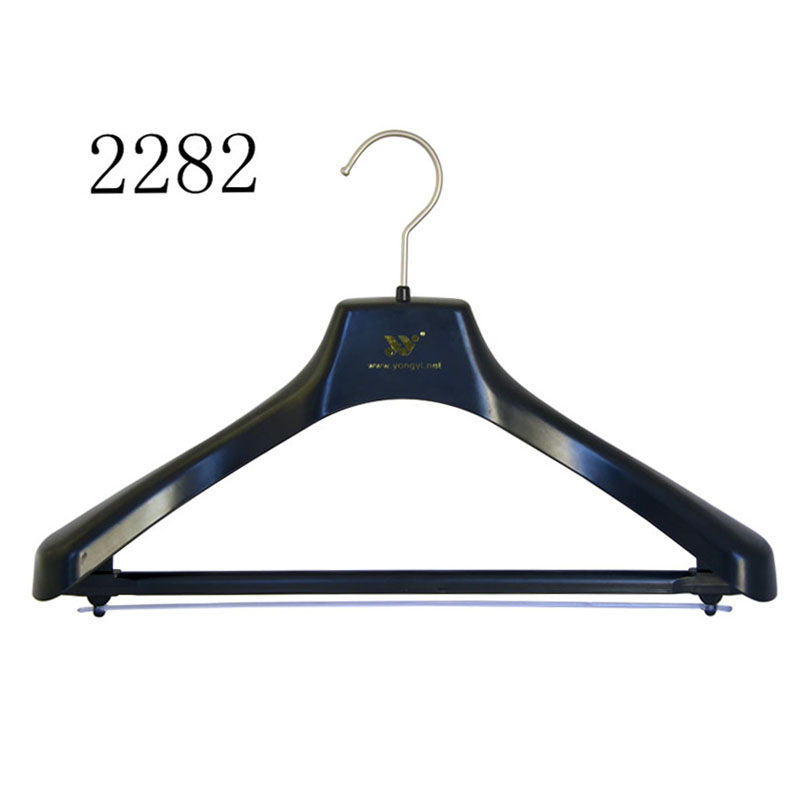 Sexy Ladies Sturdy Black Plastic Hanger With Bar And PVC