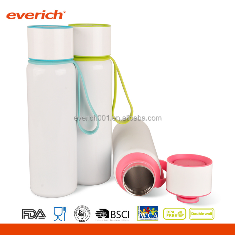 Custom double wall stainless steel vacuum insulated flask with strap
