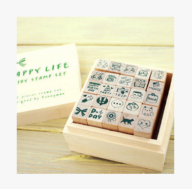 china supplier hot selling happy life dairy stamp set 25pcs/set for kid stamp