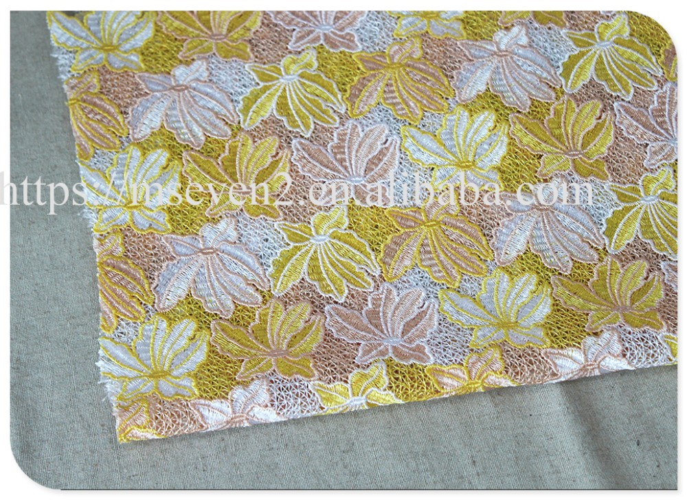 Newest design muti-colors water soluble nylon lace fabric emberoidery