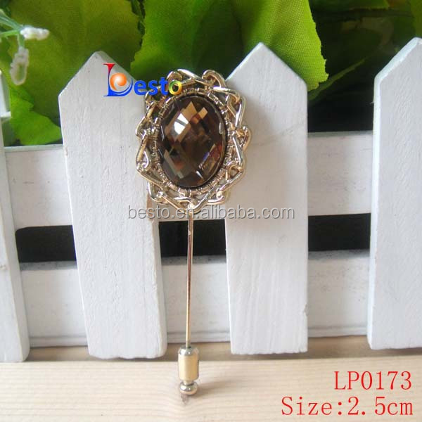 Antique lapel pins big rhinestone center lapel pin for men