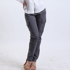 2018 New Style Solid Color Two Pocket Womens Casual Cotton Pants
