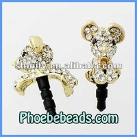 Wholesale 3.5mm Dust Plug For Iphone Crystal Pave Cute Dog Design Earphone Dustproof Jack Ear Cap MDP-M08