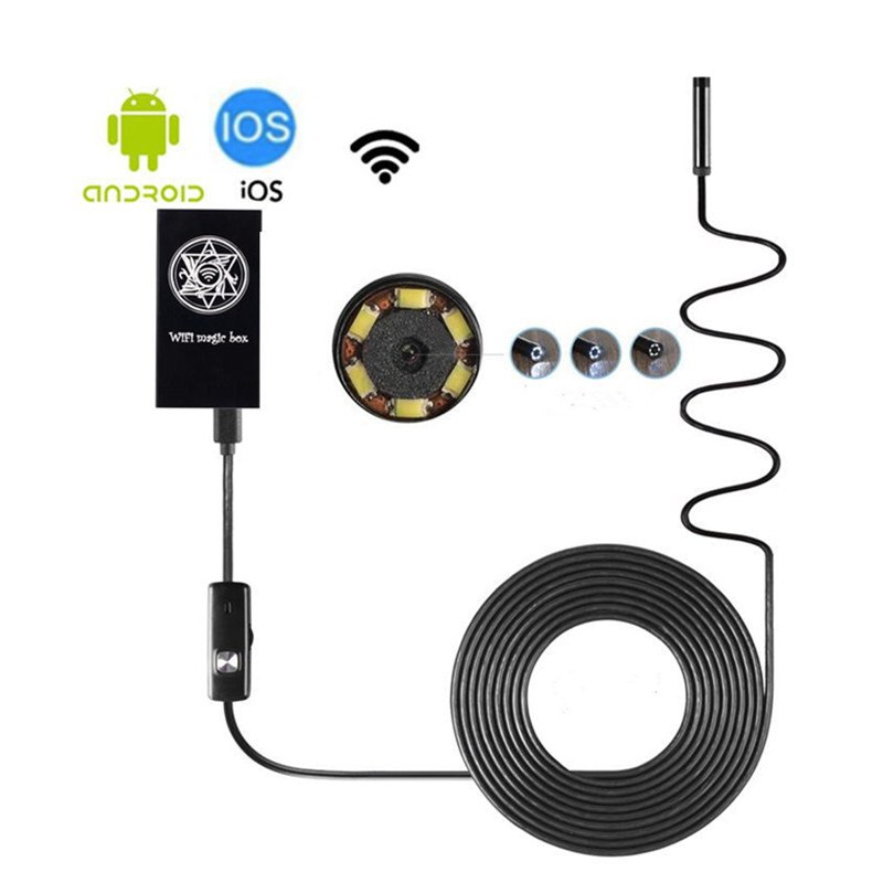 5.5mm Wireless Wifi Endoscope 5M Android Camera Borescope 6 LED Waterproof Inspection For IOS Android Endoscope