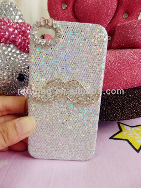 2014 fashion beard mobile rhinestone phone case for iphone 4s